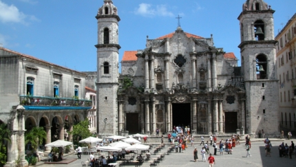 Cathedral Square of Havana panoramic view